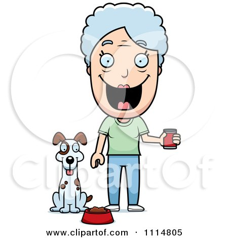 Clipart Happy Senior Woman Feeding Her Dog - Royalty Free Vector Illustration by Cory Thoman