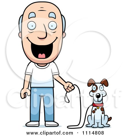 Clipart Happy Senior Man Ready To Walk His Dog - Royalty Free Vector Illustration by Cory Thoman
