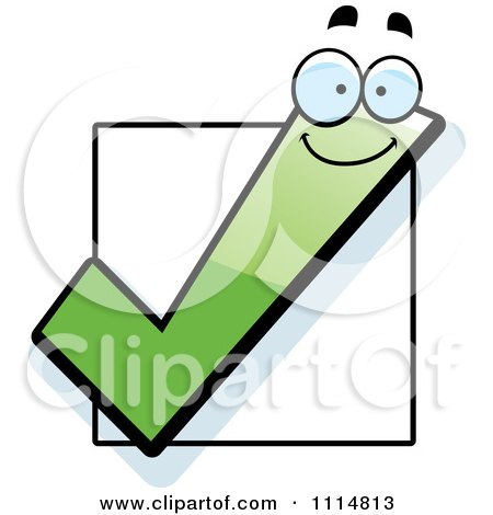 Clipart Happy Green Check Mark Over A Box - Royalty Free Vector Illustration by Cory Thoman
