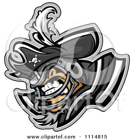 Clipart Competitive Pirate Football Player Mascot With Shoulder Pads - Royalty Free Vector Illustration by Chromaco