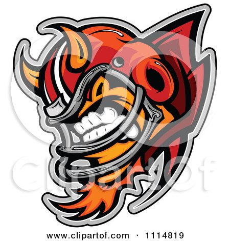 Clipart Aggressive Devil Football Player Mascot With Shoulder Pads Royalty Free Vector Illustration