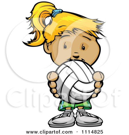 Clipart Cute Blond Athletic Girl Holding A Volleyball - Royalty Free Vector Illustration by Chromaco