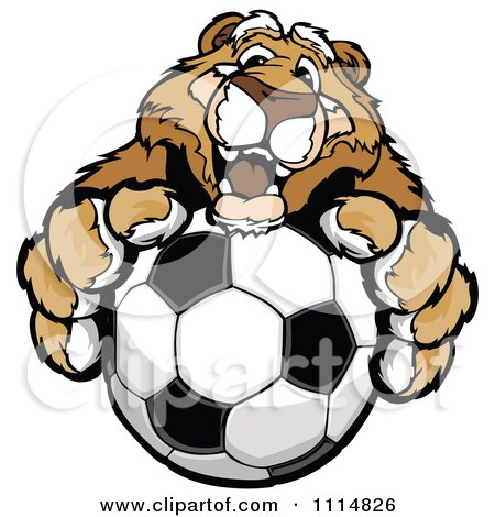 Clipart Friendly Cougar Mascot Holding Out A Soccer Ball - Royalty Free Vector Illustration by Chromaco