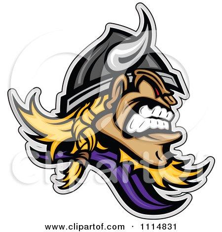 Clipart Aggressive Viking Profile Mascot - Royalty Free Vector Illustration by Chromaco