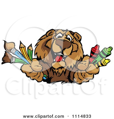 Clipart Happy Bear Mascot Holding Art Supplies - Royalty Free Vector Illustration by Chromaco