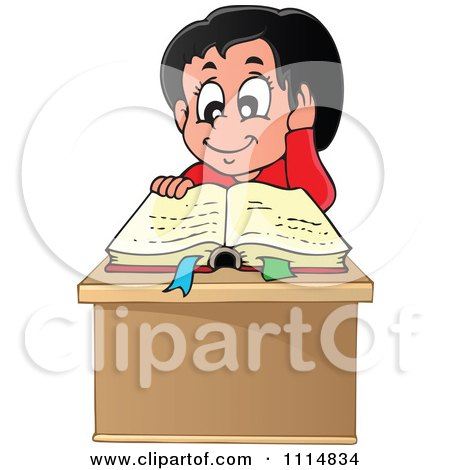 Clipart Happy Hispanic Girl Reading A Book At Her Desk - Royalty Free Vector Illustration by visekart