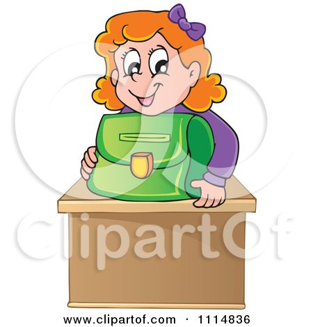 Red Haired School Girl Smiling Over A Green Bag On Her Desk Posters, Art Prints