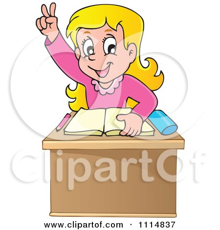 Clipart Blond School Girl Raising Her Hand At Her Desk Over A Book - Royalty Free Vector Illustration by visekart