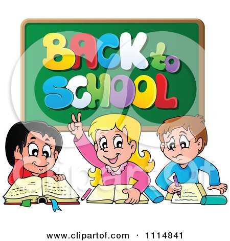Clipart Three Happy Kids Under A Back To School Chalkboard - Royalty Free Vector Illustration by visekart