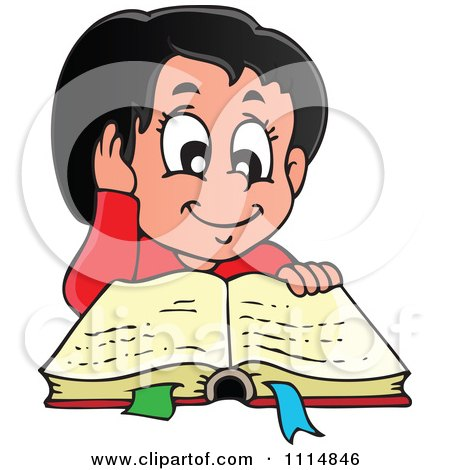 Clipart Happy Hispanic Girl Reading A Book - Royalty Free Vector Illustration by visekart