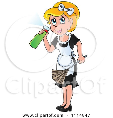 Clipart Blond Maid Spraying Cleanser And Holding A Duster - Royalty Free Vector Illustration by visekart
