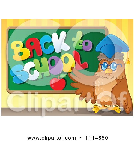 Clipart Professor Owl Presenting A Back To School Chalkboard - Royalty Free Vector Illustration by visekart