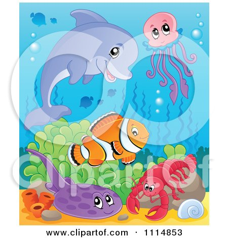 Clipart Cute Dolphin Jellyfish Clownfish Flounder And Lobster In The Ocean - Royalty Free Vector Illustration by visekart