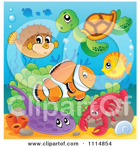 Clipart Cute Blowfish Sea Turtle Fish Flounder And Lobster In The Ocean - Royalty Free Vector Illustration by visekart