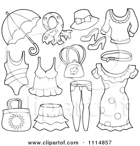 Clipart outlined accessories and clothes 1 royalty free for Clothing coloring pages