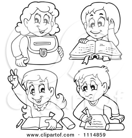 school homework coloring pages | Clipart Outlined School Children Reading And Doing ...
