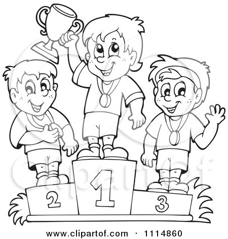 Clipart Outlined Athletes Standing On Placement Podiums - Royalty Free Vector Illustration by visekart