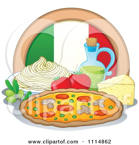 Italian Food With A Flag Circle Spaghetti Oil Pizza Cheese Olives And Tomatoes Posters, Art Prints