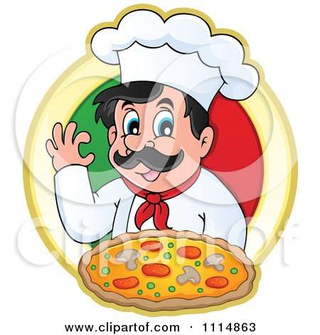 Clipart Pizza Chef Gesturing Ok And Holding Pizza Over An Italian Flag Circle - Royalty Free Vector Illustration by visekart