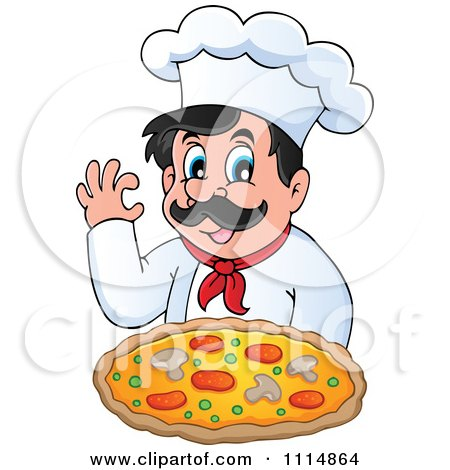 Clipart Italian Pizza Chef Gesturing Ok And Holding Pizza - Royalty Free Vector Illustration by visekart