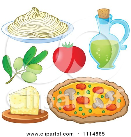 Italian Food Spaghetti Noodles Olives Tomato Oil Cheese And Pizza Posters, Art Prints