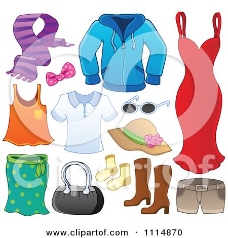 Clipart Accessories And Clothes 1 - Royalty Free Vector Illustration by visekart