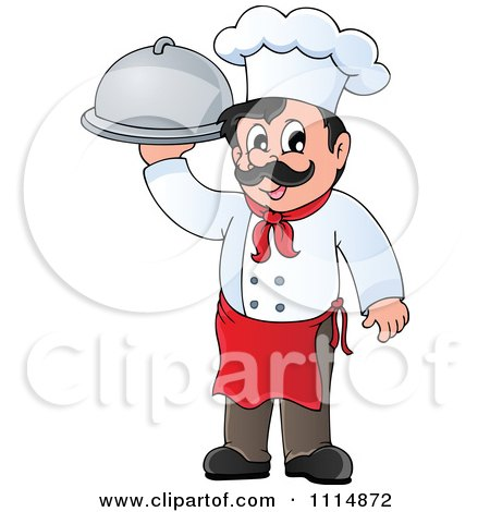 Clipart Happy Male Chef Carrying A Cloche - Royalty Free Vector Illustration by visekart