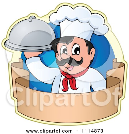 Clipart Happy Male Chef Holding A Cloche Over A Banner With A Blue Circle - Royalty Free Vector Illustration by visekart