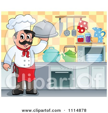 Clipart Happy Male Chef Holding A Cloche In A Kitchen - Royalty Free Vector Illustration by visekart