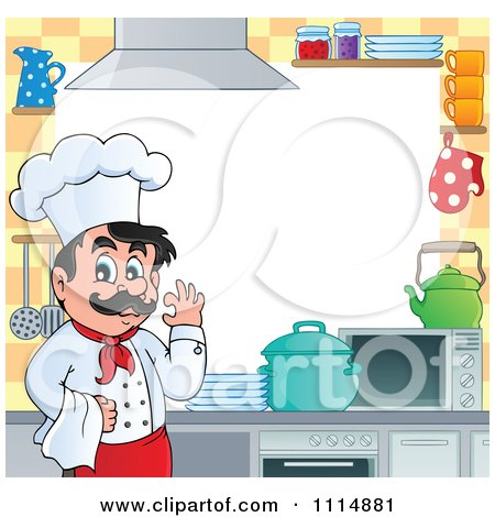 Clipart Frame Of A Happy Male Chef Gesturing Ok In A Kitchen Around White Copyspace - Royalty Free Vector Illustration by visekart