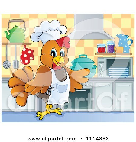 Chef Chicken Cooking In A Kitchen Posters, Art Prints