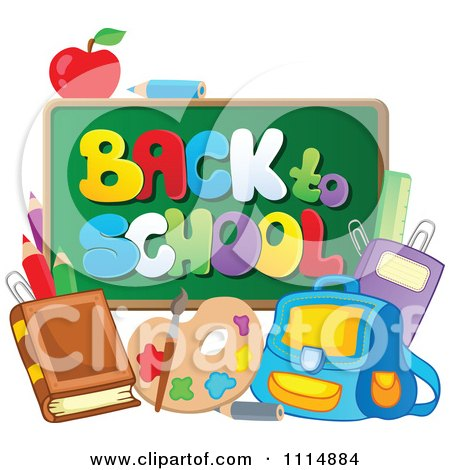 Back To School Chalkboard With Supplies Posters, Art Prints