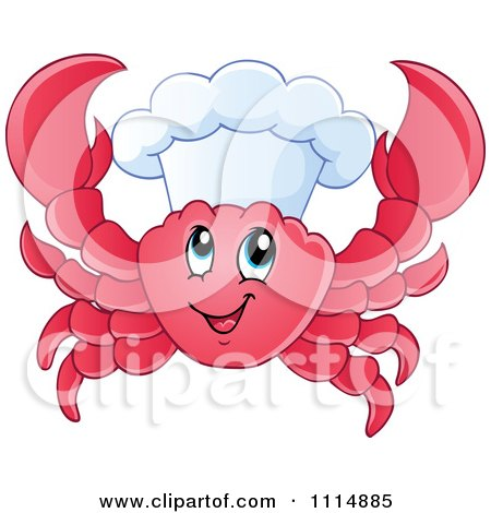 Clipart Happy Chef Crab - Royalty Free Vector Illustration by visekart