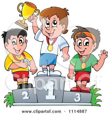 Clipart Athletes Standing On Placement Podiums - Royalty Free Vector Illustration by visekart