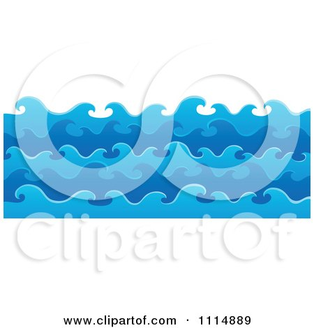 Clipart Blue Ocean Waves In Layers - Royalty Free Vector Illustration by visekart
