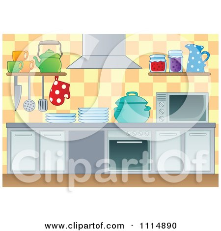 Clipart Modern Kitchen With Appliances - Royalty Free Vector Illustration by visekart