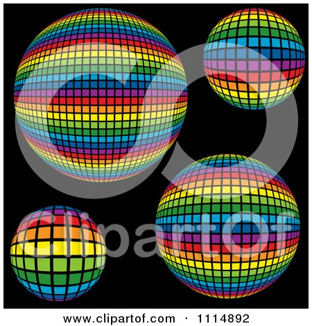 Clipart Rainbow Colored Disco Ball Spheres On Black - Royalty Free Vector Illustration by dero
