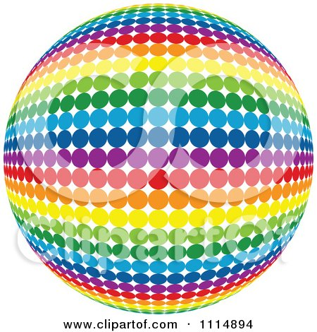 Clipart Rainbow Colored Disco Ball Sphere 5 - Royalty Free Vector Illustration by dero