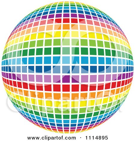 Rainbow Colored Disco Ball Sphere 4 Posters, Art Prints