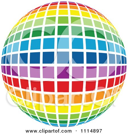 Clipart Rainbow Colored Disco Ball Sphere 2 - Royalty Free Vector Illustration by dero