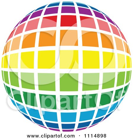 Clipart Rainbow Colored Disco Ball Sphere 3 - Royalty Free Vector Illustration by dero