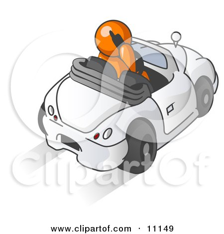 Orange Businessman Talking on a Cell Phone While Driving in a Convertible Car Posters, Art Prints