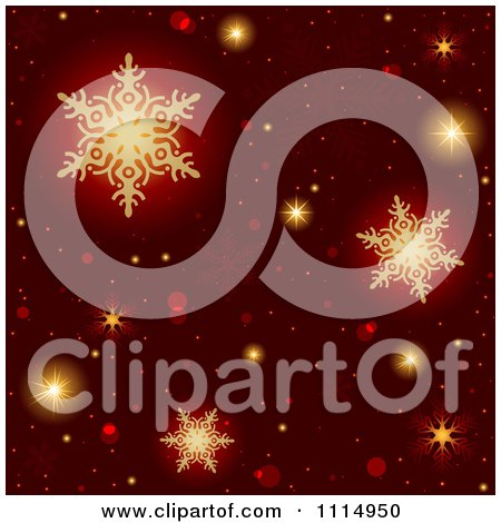 Clipart Red Christmas Background With Golden Snowflakes - Royalty Free Vector Illustration by dero