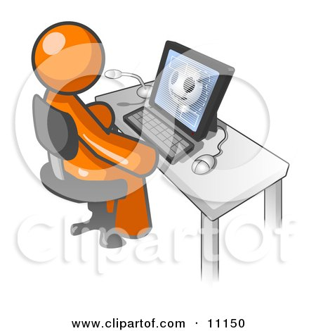 Orange Doctor Man Sitting at a Computer and Viewing an Xray of a Head Posters, Art Prints