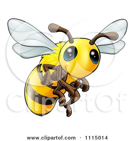 Clipart Very Cute Bee With Big Eyes - Royalty Free Vector Illustration by AtStockIllustration