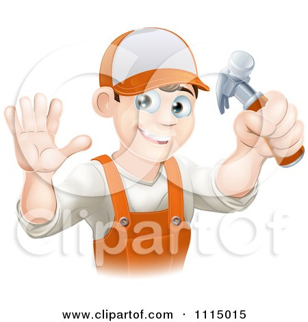 Happy Handy Man Holding A Hammer And Waving Posters, Art Prints