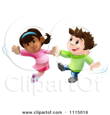 Clipart Happy Boy And Girl Jumping And Dancing Together - Royalty Free Vector Illustration by AtStockIllustration
