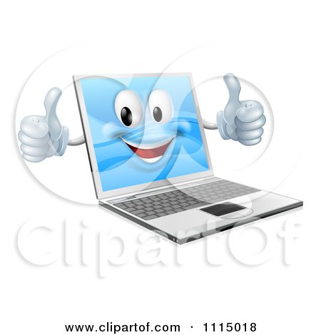 Clipart 3d Happy Laptop Mascot Holding Two Thumbs Up - Royalty Free Vector Illustration by AtStockIllustration