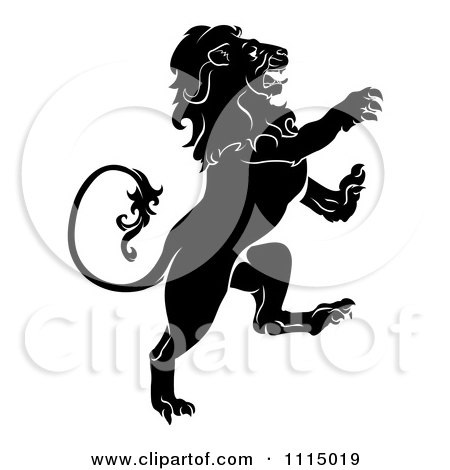 Clipart Black And White Attacking Heraldic Lion - Royalty Free Vector Illustration by AtStockIllustration