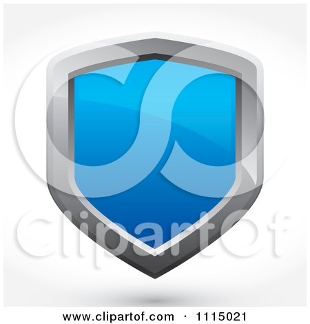Clipart 3d Reflective Blue And Silver Shield With A Shadow - Royalty Free Vector Illustration by Arena Creative
